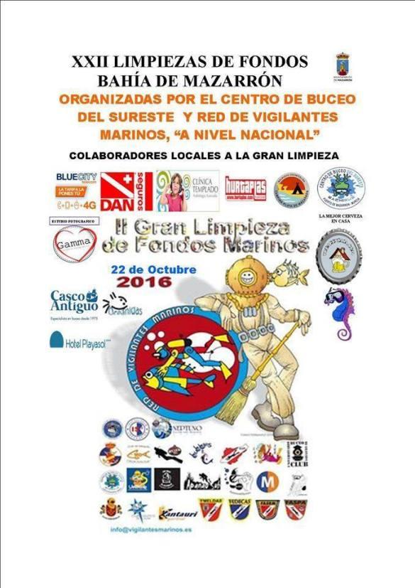 Cartel anunciador de limpieza de fondos marinos en Mazarrón